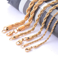 Gold Twisted Rope Chain Necklace - 14 Size Options