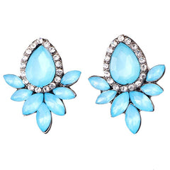 Rhinestone Stud Earrings - 6 Color Options