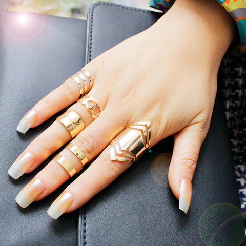 18K Gold Plated 5pc Ring Set