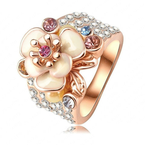 18K Rose Gold Plate Austrian Crystal Enamel Flower Ring