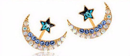 Acrylic Flower Cubic Zirconia Moon Star Stud Earrings