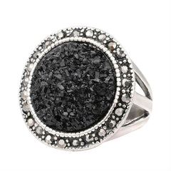 Black 'Broken Stone' Bohemian Silver Plated Ring