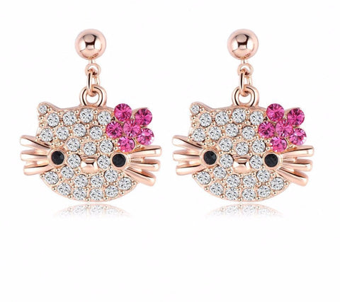 Lovely Cat Flower Stud Earrings - 18K Rose Gold With Austrian Crystals