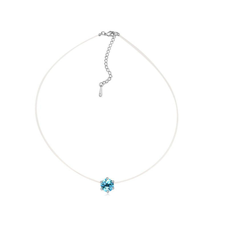 Transparent Thin Chain Necklace with Swarovski Crystals