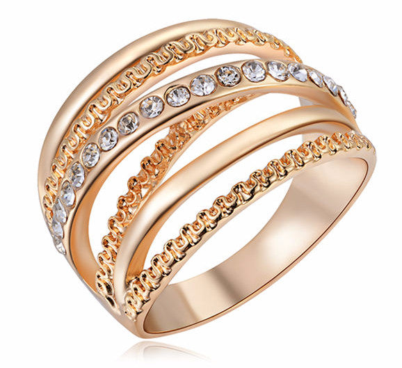 18K Rose Gold Plated Ring With Austrian Cubic Zirconia Crystals