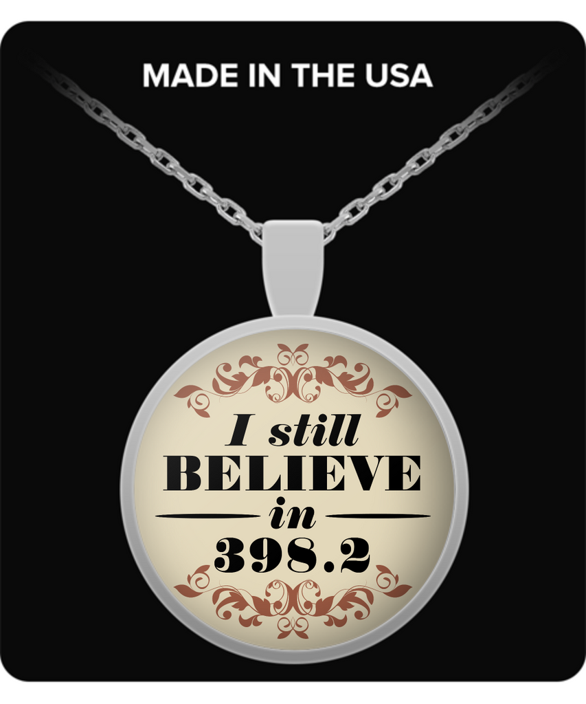 "Fairy Tale Book Lovers Pendant, ""I Still Believe in 398.2"""