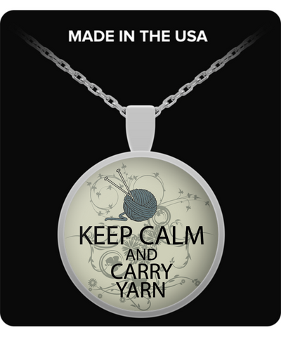 "Knitting Lovers Pendant ""Keep Calm And Carry Yarn"""