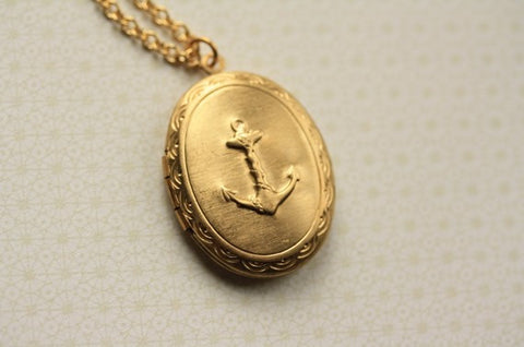 Nautical Anchor AUTHENTIC Vintage Locket Necklace (Gold Chain Options)
