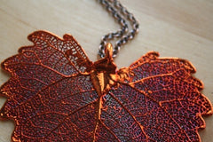 Copper Cottonwood Large Leaf Pendant Necklace (Nature Jewelry)