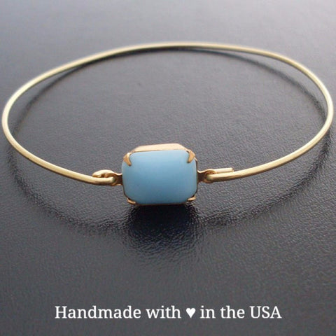 Turquoise Smooth Stone Bangle Bracelet (Brass, Silver or Gold)