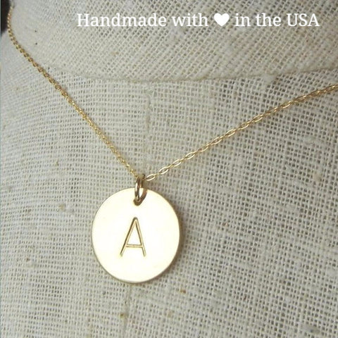 Personalized 14K Gold Initial Round Charm Necklace