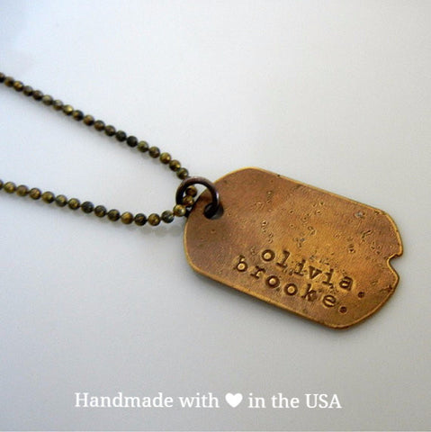 Personalized Rustic Vintage Style Dog Tag Necklace (Names, Words, Dates)