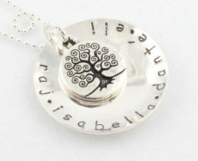 Personalized Tree of Life Sterling Silver Necklace with Custom Names