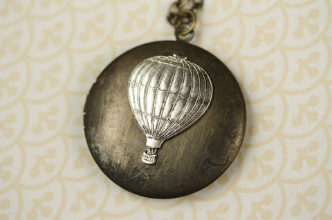 Hot Air Balloon on Dark Vintage Locket Necklace (Silver or Gold)