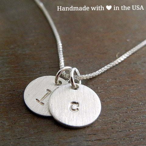 Personalized Two Round Charm Initials Sterling Silver Necklace