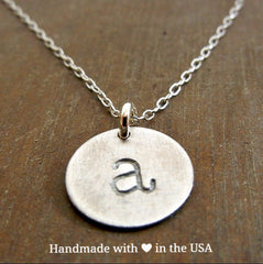 Personalized Round Silver Initial Necklace (Handstamped)