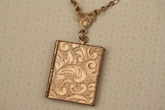 Art Nouveau Book Locket Necklace w/ Paisley Flower Design (Gold Finish)