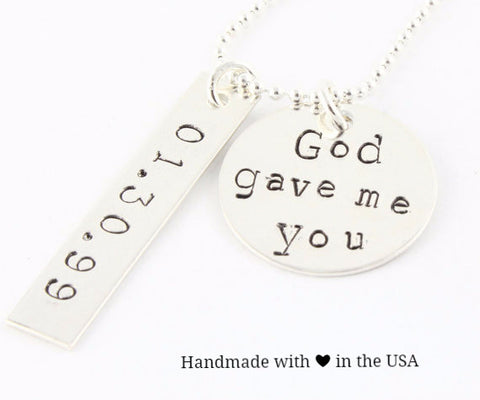 Personalized 'God Gave Me You' Necklace with Date (Sterling Silver)