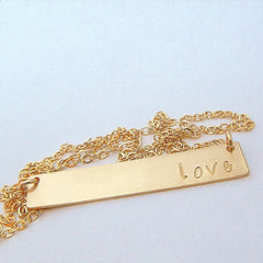 Personalized 14K Gold Bar Name Necklace (Name, Word or Date)