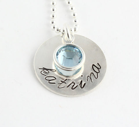 Personalized Sterling Silver Disc with Swarovski Crystal Necklace
