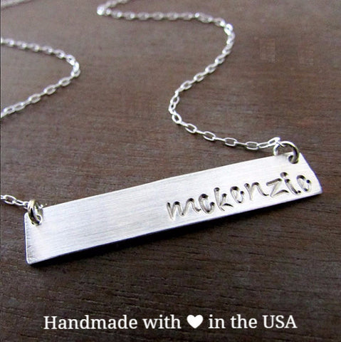 Personalized .925 Sterling Silver Bar Name Necklace w/ Custom Letters