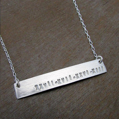 Personalized Sterling Silver Bar Name Necklace (Name, Word or Date)