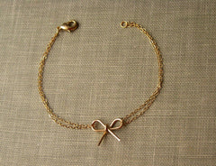 Rose Gold Bow Bracelet - Bridesmaid Jewelry (Custom Options Avail)