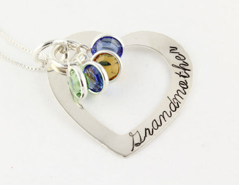 Personalized Sterling Silver Heart w/ Swarovski Crystal Birthstone Necklace