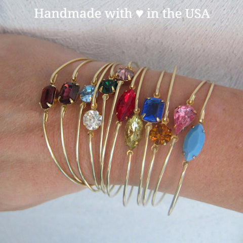 Rhinestone Style Birthstone Bangle Bracelet (Brass, Silver or Gold)