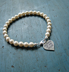 Swarovski Pearl Bracelet with Heart Charm (Mother Bride, Flower Girl, Groom & More)