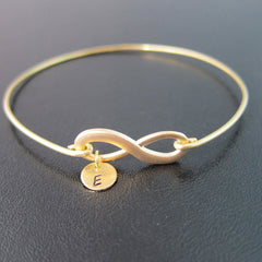 Personalized Infinity & Initials Bracelet for New Bride, Anniversary, Couples (Brass, Silver, Gold)