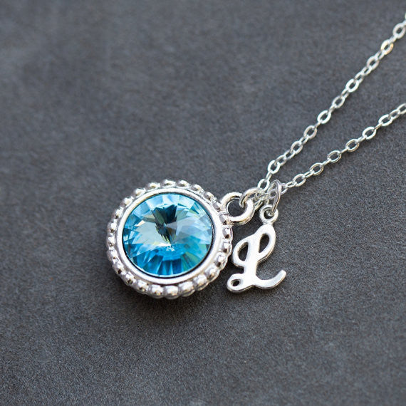 Personalized Swarovski Crystal Necklace w/ Sterling Silver Initial
