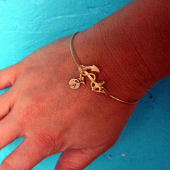 Personalized Anchor Bracelet with Date Charm (Brass, Silver or Gold)