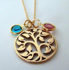 14K Gold Swarovski Crystal Birthstone Family 'Tree of Life' Necklace