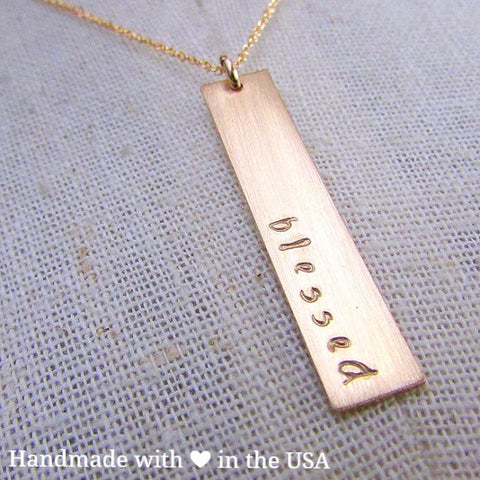Personalized Vertical Gold Bar Necklace (Custom Text)