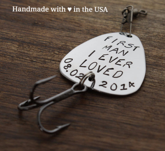 Personalized Fishing Lure for Father w/ Custom Date (First Man I Ever Loved)