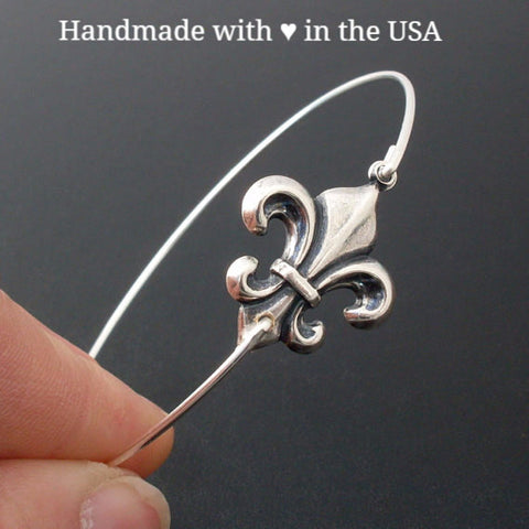 Silver or Brass Fleur de Lis Bangle Bracelet