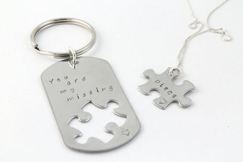 Personalized 'Missing Piece' Keychain + Necklace (Stainless Steel)
