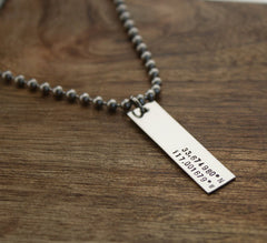 Personalized Mens Latitude Longitude Bar Necklace w/ Coordinates