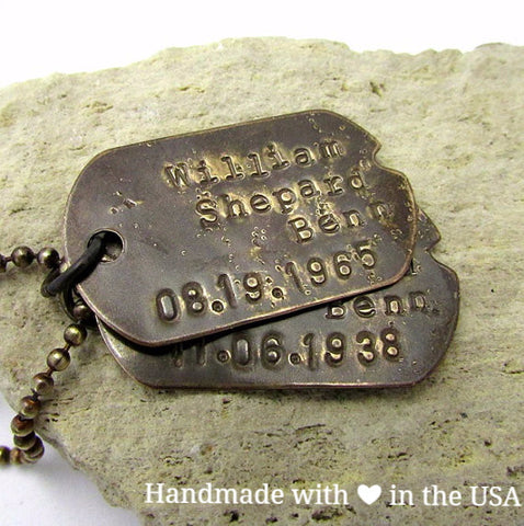 Personalized Rustic Double Dog Tag Necklace w/ Custom Phrases, Numbers, Symbols