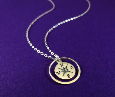 Compass Charm with Eternity Ring Necklace - Silver/Gold (Graduation Gift)