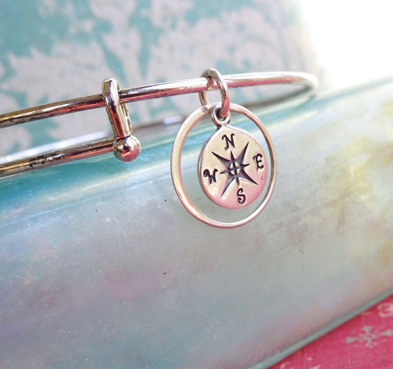 Small Compass Charm Bangle Bracelet with Eternity Ring (Silver or Gold Finish)