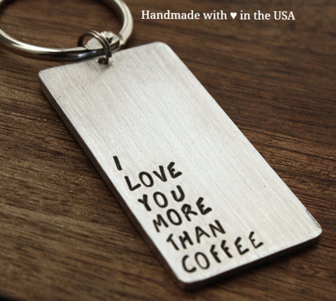 Personalized Mens 'I Love You More than Coffee' Keychain w/ Custom Date & Initials