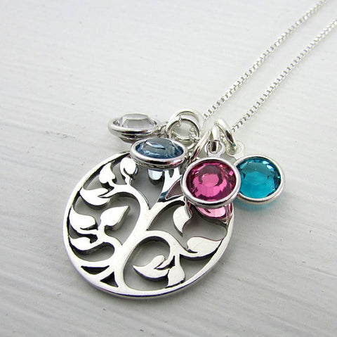 Sterling Silver Swarovski Crystal Birthstone Family 'Tree of Life' Necklace