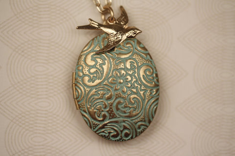 Tiny Gold Bird & Aqua Blue Floral Locket Necklace (Gold Plated or Filled Chain)