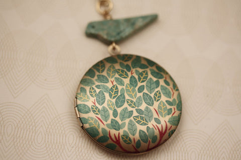 Blue Leaf 'Tree of Life' Locket w/ Optional Turquoise Hand Carved Birdie