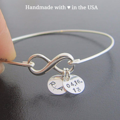 Personalized Infinity Bracelet with Dates + Initials (Sterling Silver or 14K Gold)