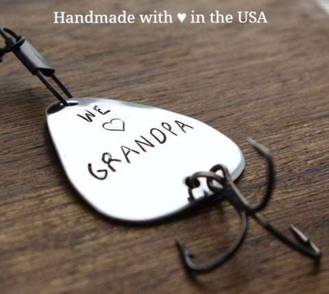 "Personalized ""We Love Grandpa"" Fishing Lure w/ Custom Name(s)"
