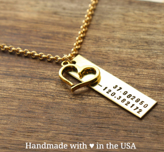 Personalized Wedding Coordinates Necklace w/ Gold or Silver Heart
