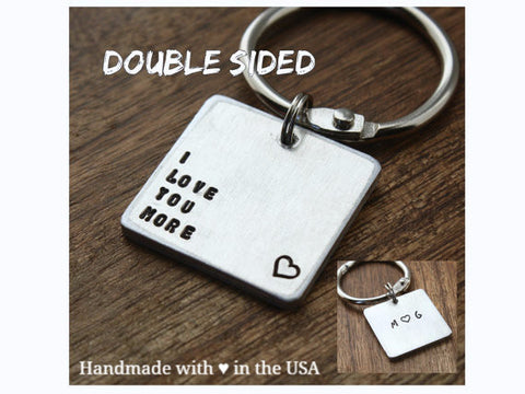 "Personalized ""I Love You More"" Keychain with Initials & Date"